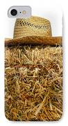 Farmer Hat On Hay Bale IPhone Case by Olivier Le Queinec