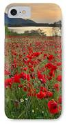 Field Of Poppies At The Lake IPhone Case by Guido Montanes Castillo
