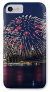 Fireworks And Full Moon Over New York City IPhone Case by Susan Candelario