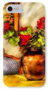 Flower - Geraniums On A Table  IPhone Case by Mike Savad