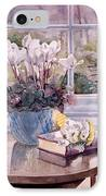 Flowers And Book On Table IPhone Case by Julia Rowntree