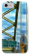 Fort Pitt Bridge And Downtown Pittsburgh IPhone Case by Thomas R Fletcher