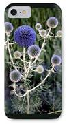 Globe Thistle IPhone Case by Rona Black