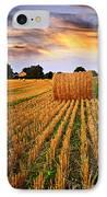 Golden Sunset Over Farm Field In Ontario IPhone Case by Elena Elisseeva