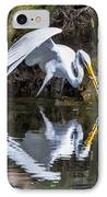 Great White Heron Fishing IPhone Case by Charles Warren