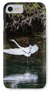 Great White Heron In Flight IPhone Case by Charles Warren