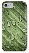 Green Leaf Background With Raindrops IPhone Case by Elena Elisseeva