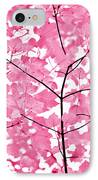 Hot Pink Leaves Melody IPhone Case by Jennie Marie Schell