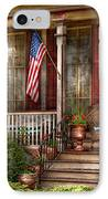 House - Porch - Belvidere Nj - A Classic American Home  IPhone Case by Mike Savad