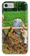 Indian Farmer Plowing With Bulls IPhone Case by Image World
