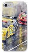 Le Mans 2011 Gte Pro Chevrolette Corvette C6r Vs Ferrari 458 Italia IPhone Case by Yuriy  Shevchuk
