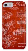 Lego Toy Building Brick Patent - Red IPhone Case by Aged Pixel