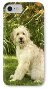 Lily The Goldendoodle With Daylilies IPhone Case by Anna Lisa Yoder