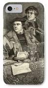 Luther Melancthon Pomeranus And Cruciger Translating  IPhone Case by English School
