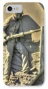 Massachusetts At Gettysburg 1st Mass. Volunteer Infantry Skirmishers Close 1 Steinwehr Ave Autumn IPhone Case by Michael Mazaika