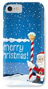 Merry Christmas Sign Santa Claus Winter Landscape IPhone Case by Frank Ramspott
