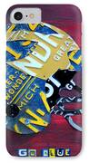 Michigan Wolverines College Football Helmet Vintage License Plate Art IPhone Case by Design Turnpike