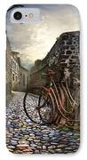 Old Bicycles On A Sunday Morning IPhone Case by Debra and Dave Vanderlaan