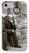 Old Man Pondering IPhone Case by Susan Schmitz