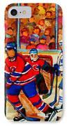 Olympic  Hockey Hopefuls  Painting By Montreal Hockey Artist Carole Spandau IPhone Case by Carole Spandau