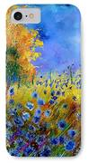 Orange Tree And Blue Cornflowers IPhone Case by Pol Ledent
