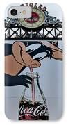 Orioles Mascot Drinks Coca Cola IPhone Case by Susan Candelario