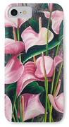 Pink Anthuriums IPhone Case by Karin  Dawn Kelshall- Best