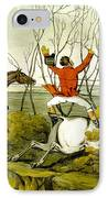 Plunging Through The Hedge From Qualified Horses And Unqualified Riders IPhone Case by Henry Thomas Alken