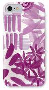 Purple Garden - Contemporary Abstract Watercolor Painting IPhone Case by Linda Woods