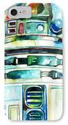 R2-d2 Watercolor Portrait IPhone Case by Fabrizio Cassetta