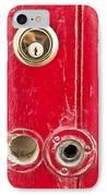 Red Door Lock IPhone Case by Tom Gowanlock