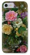 Roses In A Glass Vase IPhone Case by Albert Williams