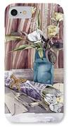 Roses Tulips And Striped Curtains IPhone Case by Julia Rowntree
