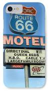 Route 66 Motel Sign 3 IPhone Case by Bob Christopher
