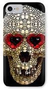 Skull Art - Day Of The Dead 3 Stone Rock'd IPhone Case by Sharon Cummings