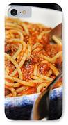 Spaghetti And Meat Sauce With Spoon IPhone Case by Andee Design