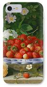 Strawberries In A Blue And White Buckelteller With Roses And Sweet Briar On A Ledge IPhone Case by William Hammer
