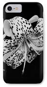 Tiger Lily In Black And White IPhone Case by Sandy Keeton