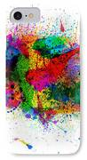 United States Paint Splashes Map IPhone Case by Michael Tompsett