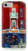 Verdun Landmarks Pierrette Patates Resto Cafe  Deli Hot Dog Joint- Historic Marquees -montreal Scene IPhone Case by Carole Spandau