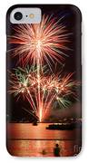 Wading View Of Fireworks IPhone Case by Mark Miller