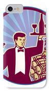 Waiter Serving Wine Glass Bottle Retro IPhone Case by Aloysius Patrimonio