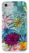 Whimsical Floral Flowers Dragonfly Art Colorful Uplifting Painting By Megan Duncanson IPhone Case by Megan Duncanson