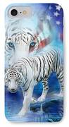 White Tiger Moon - Patriotic IPhone Case by Carol Cavalaris