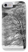 Winter Horse Chestnut Trees Monochrome IPhone Case by Tim Gainey