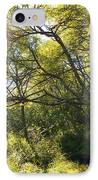 Woman Sitting On Bench - Bright Green Trees Sun Is Shining IPhone Case by Matthias Hauser