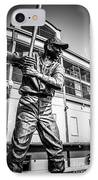 Wrigley Field Ernie Banks Statue In Black And White IPhone Case by Paul Velgos