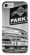 Wrigleyville Sign And Wrigley Field In Black And White IPhone Case by Paul Velgos