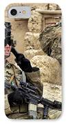 A Soldier Calls In Description IPhone Case by Stocktrek Images