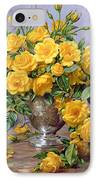 Bright Smile - Roses In A Silver Vase IPhone Case by Albert Williams